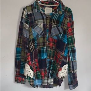 Free People Multi-Colored Flannel with lace detail